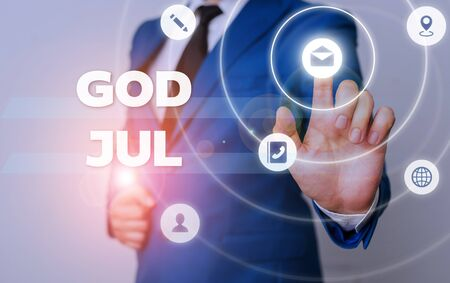Word writing text God Jul. Business photo showcasing Merry Christmas Greeting showing for new year happy holidays
