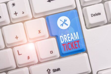 Conceptual hand writing showing Dream Ticket. Concept meaning If an opportunity or a situation is in perfect combination Keyboard with note paper on white background key copy space Stok Fotoğraf