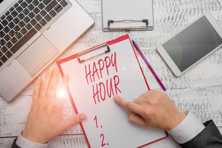 Word writing text Happy Hour. Business photo showcasing Spending time for activities that makes you relax for a while Reklamní fotografie