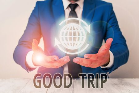 Text sign showing Good Trip. Business photo showcasing A journey or voyage,run by boat,train,bus,or any kind of vehicle