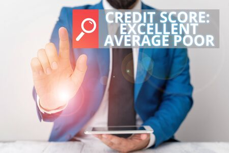 Writing note showing Credit Score Excellent Average Poor. Business concept for Level of creditworthness Rating Report Businessman with pointing finger in front of him