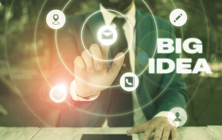Text sign showing Big Idea. Business photo showcasing Having great creative innovation solution or way of thinking
