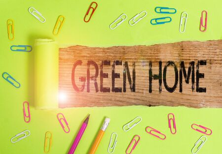 Conceptual hand writing showing Green Home. Concept meaning An area filled with plants and trees where you can relax 写真素材