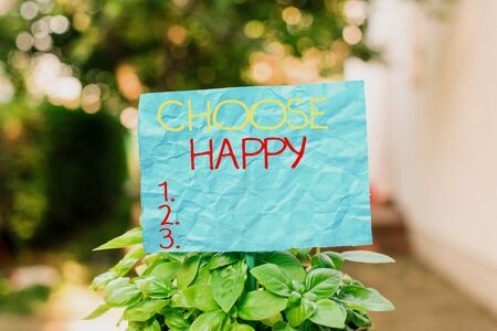 Conceptual hand writing showing Choose Happy. Concept meaning ability to create real and lasting happiness for yourself Plain paper attached to stick and placed in the grassy land