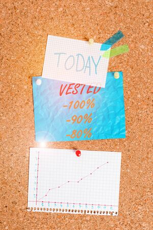 Handwriting text Vested 100 Percent 90 Percent 80 Percent. Conceptual photo Eligible for Retirement Benefit based on years of Service Corkboard color size paper pin thumbtack tack sheet billboard notice board