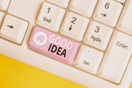 Word writing text Good Idea. Business photo showcasing State of huanalysis brain to bring great intelegence towards something White pc keyboard with empty note paper above white background key copy sp 写真素材
