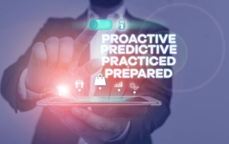 Handwriting text writing Proactive Predictive Practiced Prepared. Conceptual photo Preparation Strategies Management Male human wear formal work suit presenting presentation using smart device