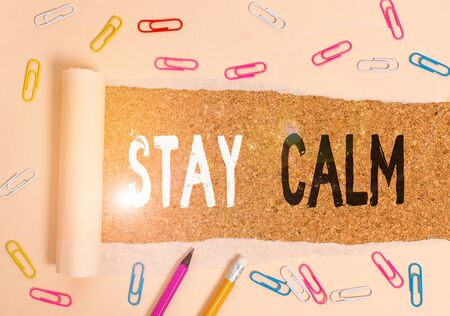 Handwriting text writing Stay Calm. Conceptual photo Maintain in a state of motion smoothly even under pressure