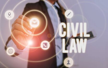Writing note showing Civil Law. Business concept for Law concerned with private relations between members of community