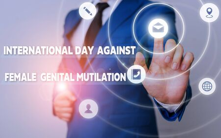 Word writing text International Day Against. Business photo showcasing International Day Against Female Genital Mutilation