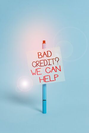 Text sign showing Bad Credit Question We Can Help. Business photo showcasing Borrower with high risk Debts Financial Ballpoint blank colored sticky note peaceful cool pastel fashion background Zdjęcie Seryjne