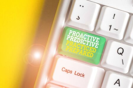Conceptual hand writing showing Proactive Predictive Practiced Prepared. Concept meaning Preparation Strategies Management White pc keyboard with note paper above the white background