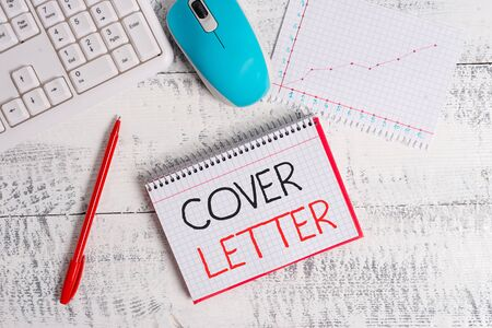 Conceptual hand writing showing Cover Letter. Concept meaning document explaining the applicant s is credentials and interest Wood desk office appliance computer equipaments charts paper slot