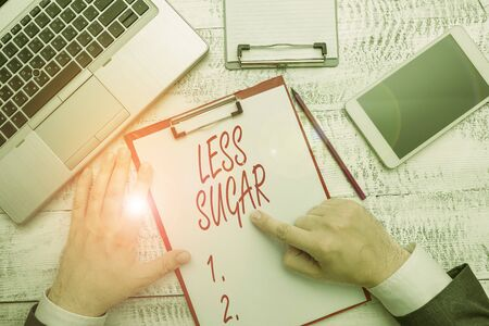 Word writing text Less Sugar. Business photo showcasing Lower volume of sweetness in any food or drink that we eat