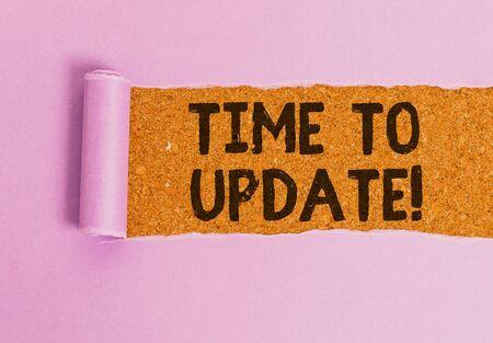 Escritura a mano conceptual que muestra el tiempo de actualización. Concepto que significa que este es el momento adecuado para hacer algo nuevo más moderno