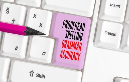 Handwriting text writing Proofread Spelling Grammar Accuracy. Conceptual photo Grammatically correct Avoid mistakes White pc keyboard with empty note paper above white background key copy space Фото со стока