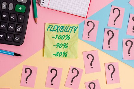 Text sign showing Flexibility 100 Percent 90 Percent 80 Percent. Business photo text How much flexible you are maleability level Mathematics stuff and writing equipment above pastel colours background