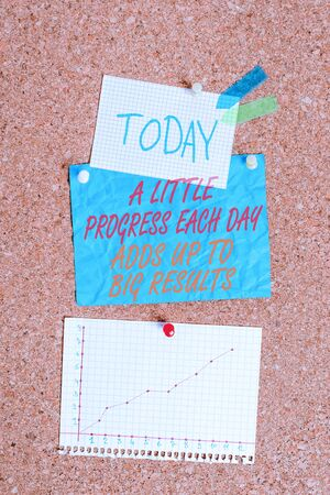 Handwriting text A Little Progress Each Day Adds Up To Big Results. Conceptual photo Step by step reach goal Corkboard color size paper pin thumbtack tack sheet billboard notice board