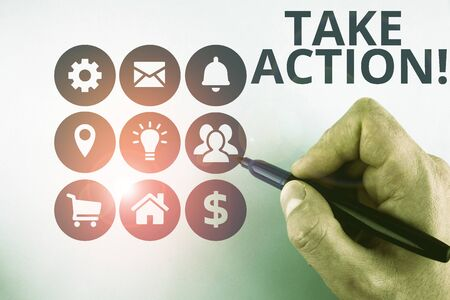 Conceptual hand writing showing Take Action. Concept meaning do something official or concerted to achieve aim with problem Male designing layout presentation concept for business promotion Banco de Imagens