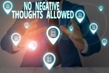 Conceptual hand writing showing No Negative Thoughts Allowed. Concept meaning Always positive motivated inspired good vibes Male wear formal suit presenting presentation smart device Banco de Imagens