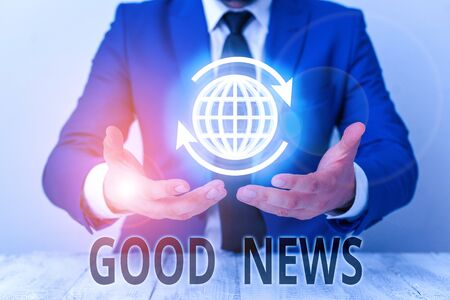 Text sign showing Good News. Business photo showcasing Someone or something positive,encouraging,uplifting,or desirable