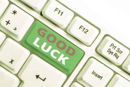 Word writing text Good Luck. Business photo showcasing A positive fortune or a happy outcome that a demonstrating can have White pc keyboard with empty note paper above white background key copy space