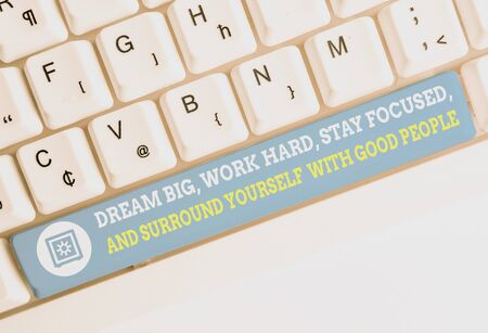 Word writing text Dream Big Work Hard Stay Focused. Business photo showcasing Dream Big Work Hard Stay Focused And Surround Yourself With Good People White pc keyboard with empty note paper above white background key copy space