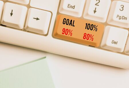 Writing note showing Goal 100 Percent 90 Percent 80 Percent. Business concept for Percentage of your objectives fulfilment success level White pc keyboard with note paper above the white background