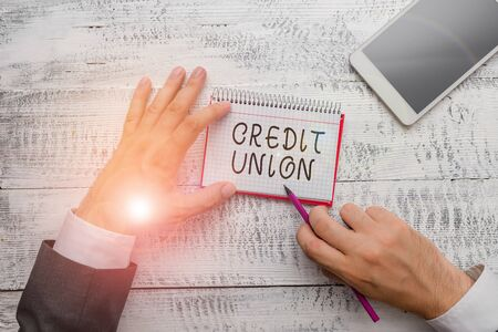 Handwriting text writing Credit Union. Conceptual photo cooperative association that makes small loans to members Reklamní fotografie