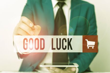 Word writing text Good Luck. Business photo showcasing A positive fortune or a happy outcome that a demonstrating can have Businessman pointing with pen in empty copy space