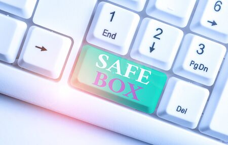 Text sign showing Safe Box. Business photo showcasing A small structure where you can keep important or valuable things White pc keyboard with empty note paper above white background key copy space Stok Fotoğraf