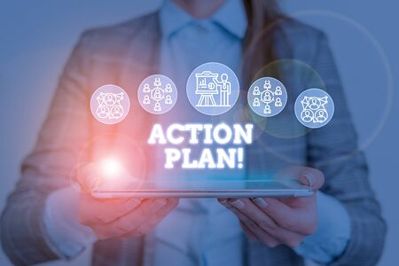 Conceptual hand writing showing Action Plan. Concept meaning proposed strategy or course of actions for certain time Woman wear work suit presenting presentation smart device