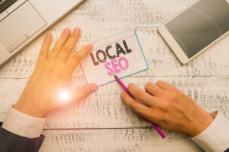 Writing note showing Local Seo. Business concept for This is an effective way of marketing your business online