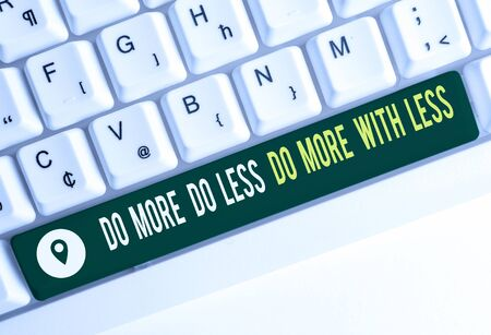 Text sign showing Do More Do Less Do More With Less. Business photo text dont work hard work smart be unique White pc keyboard with empty note paper above white background key copy space