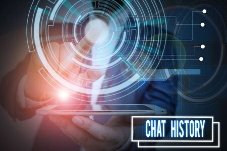 Text sign showing Chat History. Business photo showcasing archive of transcripts from online chat and instant messaging Male human wear formal work suit presenting presentation using smart device