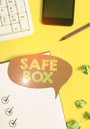 Handwriting text Safe Box. Conceptual photo A small structure where you can keep important or valuable things Empty red bubble paper on the table with pc keyboard