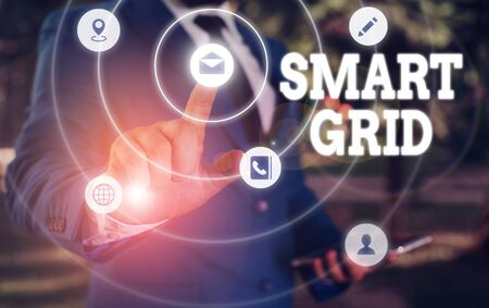 Writing note showing Smart Grid. Business concept for includes of operational and energy measures including meters Banco de Imagens
