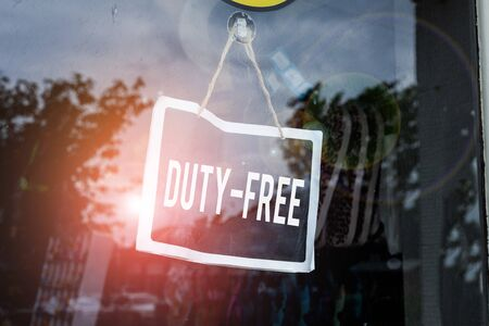 Text sign showing Duty Free. Business photo text Store or establisbhement that sells imported products witout tax Empty black board with copy space for advertising. Blank dark board Banco de Imagens