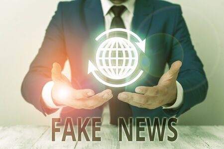Text sign showing Fake News. Business photo showcasing Giving information to showing that is not true by the media
