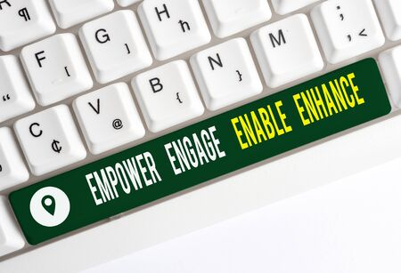 Text sign showing Empower Engage Enable Enhance. Business photo text Empowerment Leadership Motivation Engagement White pc keyboard with empty note paper above white background key copy space