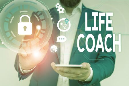 Word writing text Life Coach. Business photo showcasing A demonstrating who advices clients how to solve their problems or goals Male human wear formal work suit presenting presentation using smart device
