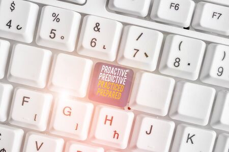 Text sign showing Proactive Predictive Practiced Prepared. Business photo showcasing Preparation Strategies Management White pc keyboard with empty note paper above white background key copy space 版權商用圖片