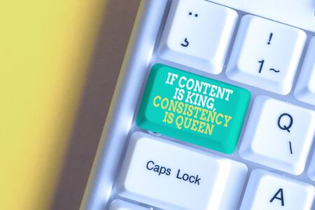 Conceptual hand writing showing If Content Is King Consistency Is Queen. Concept meaning Marketing strategies Persuasion White pc keyboard with note paper above the white background Stok Fotoğraf