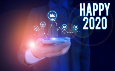 Word writing text Happy 2020. Business photo showcasing time or day at which a new calendar year begin from now Woman wear formal work suit presenting presentation using smart device