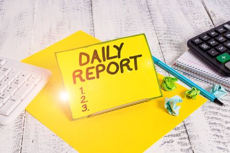 Conceptual hand writing showing Daily Report. Concept meaning document containing information of of activities done ina day Imagens