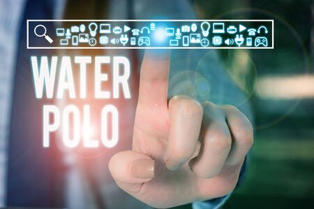 Conceptual hand writing showing Water Polo. Concept meaning competitive team sport played in the water between two teams Woman wear work suit presenting presentation smart device Stock Photo