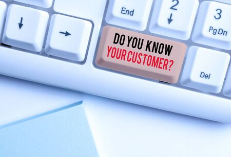 Writing note showing Do You Know Your Customer Question. Business concept for Have into account client likes opinion White pc keyboard with note paper above the white background Фото со стока