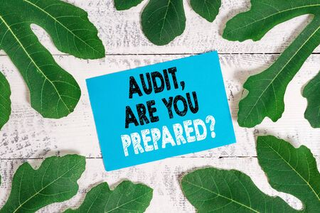 Word writing text Audit Are You Prepared Question. Business photo showcasing asking if he is ready to do something Zdjęcie Seryjne