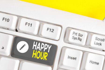 Writing note showing Happy Hour. Business concept for Spending time for activities that makes you relax for a while White pc keyboard with note paper above the white background