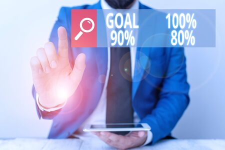 Writing note showing Goal 100 Percent 90 Percent 80 Percent. Business concept for Percentage of your objectives fulfilment success level Businessman with pointing finger in front of him 版權商用圖片